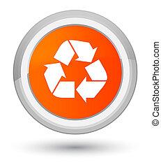 Recycle icon prime orange round button