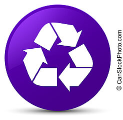 Recycle icon purple round button