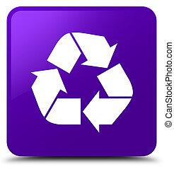 Recycle icon purple square button