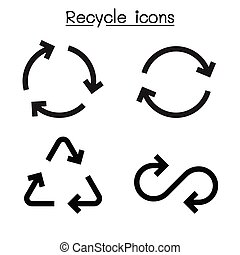 Recycle icon set in flat style