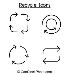 Recycle icon set in thin line style