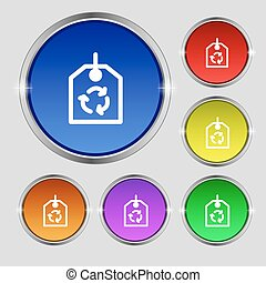 recycle icon sign. Round symbol on bright colourful buttons. Vector