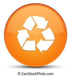 Recycle icon special orange round button