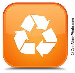 Recycle icon special orange square button