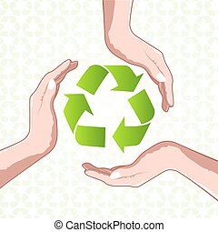 recycle icon with hands