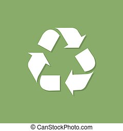 Recycle icon with shadow in a flat design on a green background