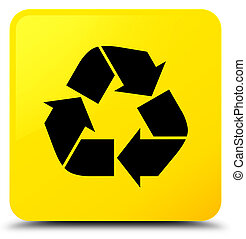 Recycle icon yellow square button