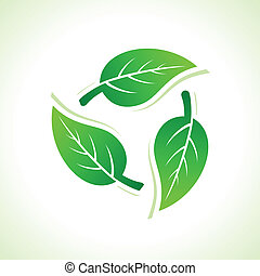 Recycle icons make by leaves stock vector