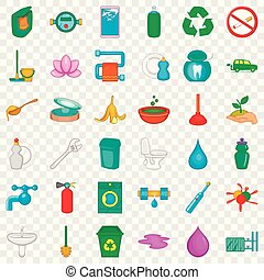Recycle icons set, cartoon style