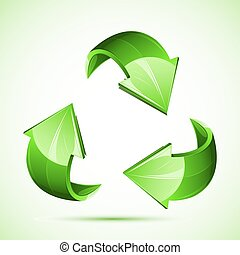 illustration of recycle symbol on isolated white background