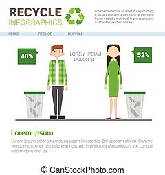 Recycle Infographic Banner Waste Gathering Sorting Garbage Concept