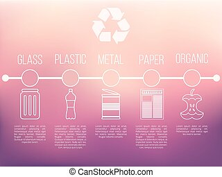 Recycle infographic with garbage icons vector trash concept