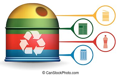 Recycle infographic with trash container and garbage icons