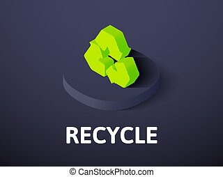 Recycle isometric icon, isolated on color background