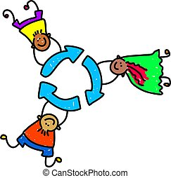 happy and diverse kids holding onto a recycle symbol - toddler art series