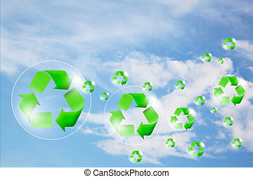 Recycle logo concept and bubble in the sky