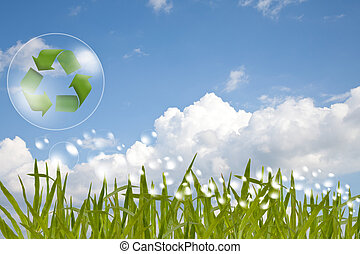 Recycle logo concept and bubble