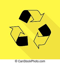 Recycle logo concept. Black icon with flat style shadow path on yellow background.