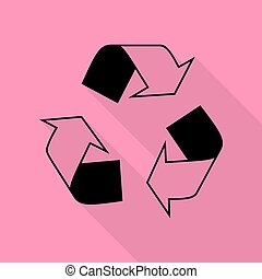 Recycle logo concept. Black icon with flat style shadow path on pink background.