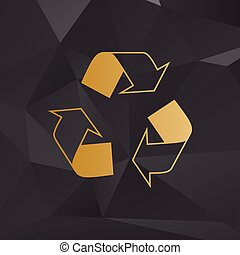 Recycle logo concept. Golden style on background with polygons.