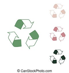 Recycle logo concept. Russian green icon with small jungle green, puce and desert sand ones on white background. Illustration.
