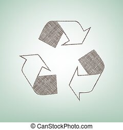 Recycle logo concept. Vector. Brown flax icon on green background with light spot at the center.