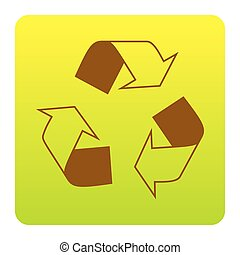 Recycle logo concept. Vector. Brown icon at green-yellow gradient square with rounded corners on white background. Isolated.