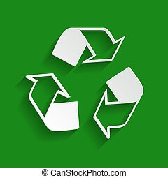 Recycle logo concept. Vector. Paper whitish icon with soft shadow on green background.
