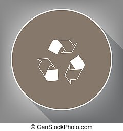 Recycle logo concept. Vector. White icon on brown circle with white contour and long shadow at gray background. Like top view on postament.