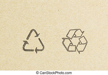 recycle logo on recycled paper background
