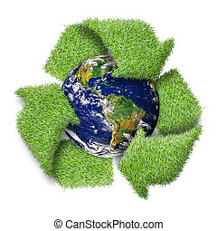 """Recycle logo symbol from the green grass and earth. """"Elements of this image furnished by NASA"""""""