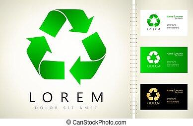 Recycle logo vector arrows design