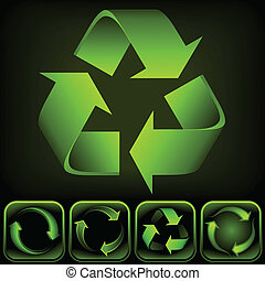 Recycle logo on black background. It is a vector image. Add or remove details or change the black to white background.