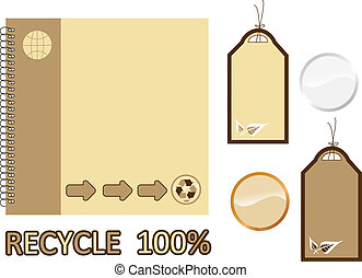 Recycle material book and sale tags
