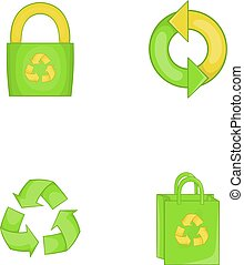 Recycle material icon set, cartoon style