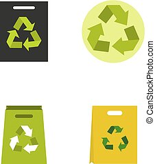 Recycle material icon set, flat style