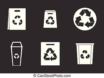 Recycle material icon set grey vector