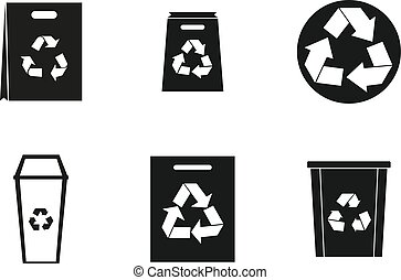 Recycle material icon set, simple style