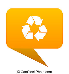 recycle orange bulb web icon isolated.