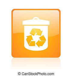 recycle orange square glossy web icon