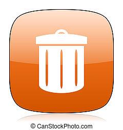 recycle orange square web design glossy icon