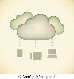 Recycle paper, Cloud computing concept.