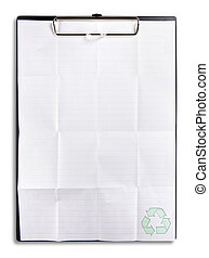recycle paper on clip board isolated