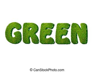 illustration with green word in grass on white background