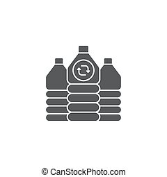 Recycle plastic bottle vector icon symbol isolated on white background