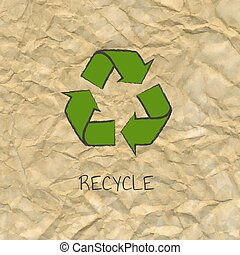 Recycle Poster Design With Cardboard Background