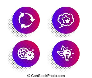 Recycle, Ranking stars and Time management icons set. Eco ...
