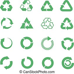 Recycle, raw materials vector icons set. Eco cycle nature ...
