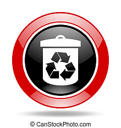 recycle red and black web glossy round icon