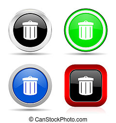 Recycle red, blue, green and black web glossy icon set in 4 options